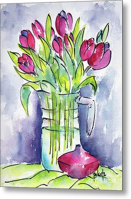 Metal Print featuring the painting Pitcher Of Tulips by Pat Katz