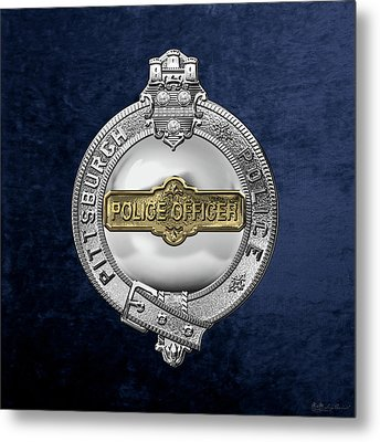 Pittsburgh Bureau Of Police -  P B P  Police Officer Badge Over Blue Velvet Metal Print