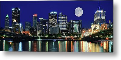 Pittsburgh Panoramic Night With Moon Metal Print