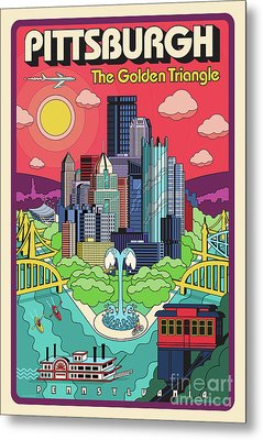 Pittsburgh Pop Art Travel Poster Metal Print