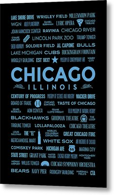 Metal Print featuring the digital art Places Of Chicago Blue On Black by Christopher Arndt