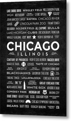 Metal Print featuring the digital art Places Of Chicago On Black Chalkboard by Christopher Arndt