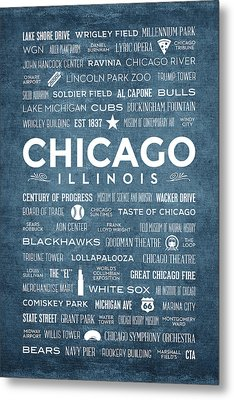 Metal Print featuring the digital art Places Of Chicago On Blue Chalkboard by Christopher Arndt