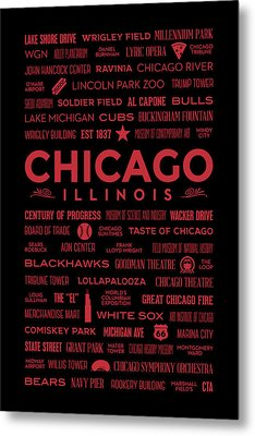 Metal Print featuring the digital art Places Of Chicago On Red On Black by Christopher Arndt