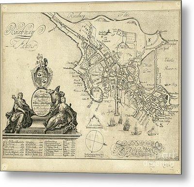 plan of Boston in New England 1728 Metal Print