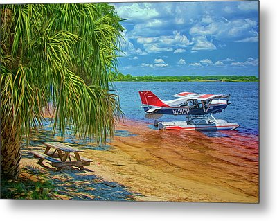 Metal Print featuring the photograph Plane On The Lake by Lewis Mann