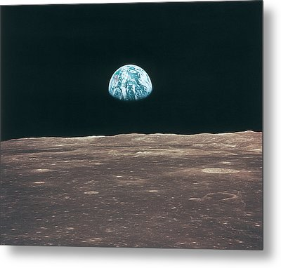 Planet Earth Viewed From The Moon Metal Print by Stockbyte