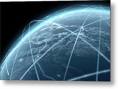 Planet With Illuminated Light Trails Metal Print