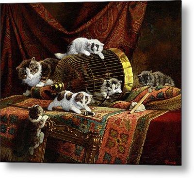 Playing Kittens Metal Print