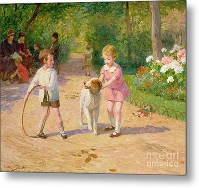 Playing With The Hoop Metal Print by Victor Gabriel Gilbert