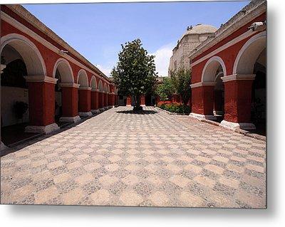 Plaza At Santa Catalina Monastery Metal Print by Aidan Moran
