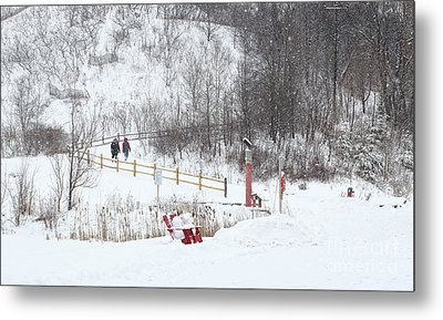 Metal Print featuring the photograph Pleasant Hike In Snow by Charline Xia