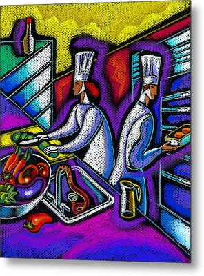 Metal Print featuring the painting  Pleasure Of The Food Preparation by Leon Zernitsky