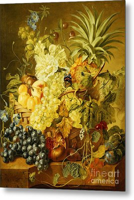 Plums, A Peach, Grapes, A Melon, A Pineapple, A Fig, Currants, Cherries And Flowers Metal Print