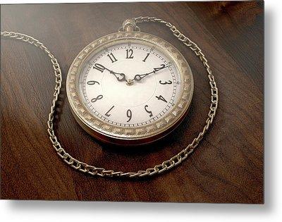 Pocket Watch On Chain Metal Print by Allan Swart