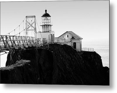 Point Bonita Lighthouse In The Marin Headlands . Black And White Metal Print