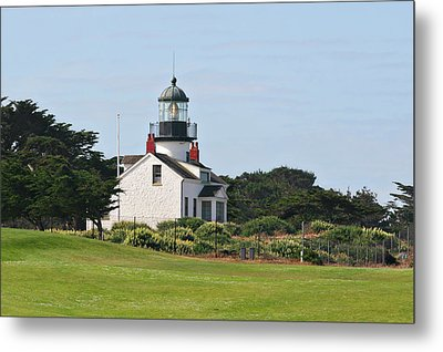 Point Pinos Light - Lighthouse On The Golf Course - Pacific Grove Monterey Central Ca Metal Print