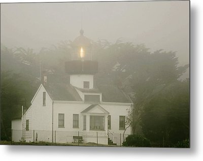 Point Pinos Lighthouse In A Foggy Night - Pacific Grove Monterey Central Ca Metal Print by Christine Till