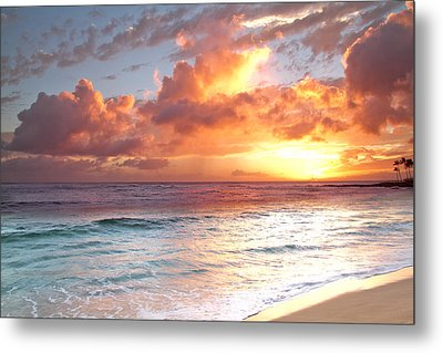 Poipu Beach Sunset Metal Print by Roger Mullenhour