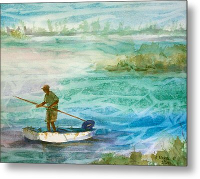 Poling The Flats Metal Print by Ruth Mabee
