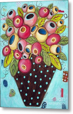 Polka Dot Pot Metal Print