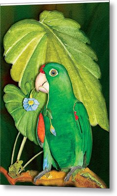 Metal Print featuring the painting Polly Wants A Flower by Anne Beverley-Stamps
