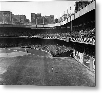 Polo Grounds, During The First Game Metal Print by Everett