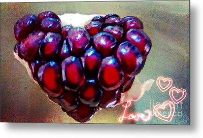 Pomegranate Heart Metal Print by Genevieve Esson