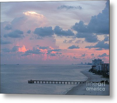 Pompano Pier At Sunset Metal Print