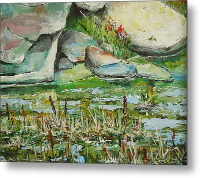 Metal Print featuring the painting Pond Shadows And Reflections by Dan Whittemore