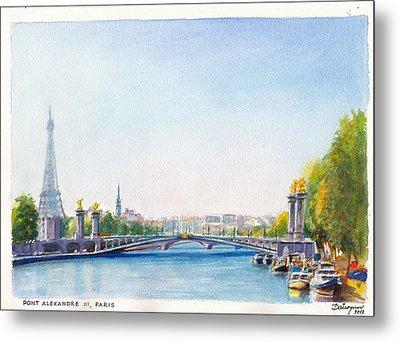 Pont Alexandre IIi Or Alexander The Third Bridge Over The River Seine In Paris France Metal Print by Dai Wynn