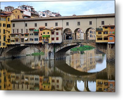 Ponte Vecchio Reflects. Metal Print by Terence Davis