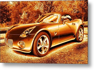 Metal Print featuring the digital art Pontiac Solstice Gxp In Gold by Maciek Froncisz