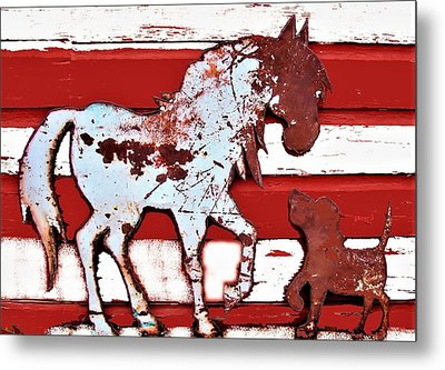 Pony And Pup Metal Print by Larry Campbell