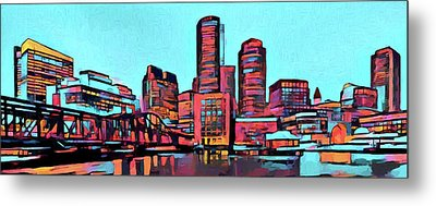 Pop Art Boston Skyline Metal Print