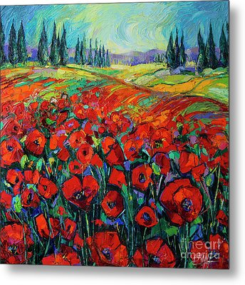 Poppies And Cypresses - Modern Impressionist Palette Knives Oil Painting Metal Print