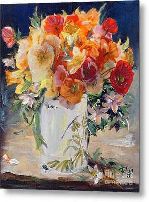 Poppies, Clematis, And Daffodils In Porcelain Vase. Metal Print