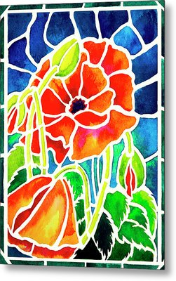 Poppies In Stained Glass Metal Print by Janis Grau