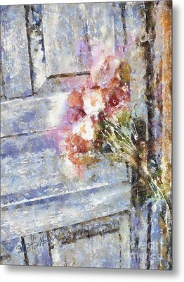 Poppies On Weathered Door Metal Print by Shirley Stalter