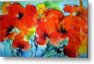 Poppy Bouquet Metal Print by Anne Duke