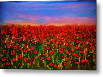 Metal Print featuring the painting Poppy Field by Evelina Popilian