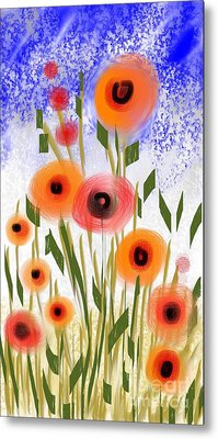 Metal Print featuring the digital art Poppy Garden by Elaine Lanoue