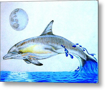 Metal Print featuring the drawing Porpoise by Mayhem Mediums