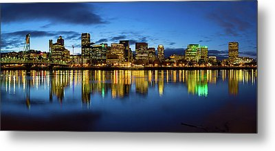 Portland City Skyline Blue Hour Panorama Metal Print by David Gn