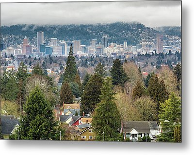 Portland City Skyline From Mount Tabor Metal Print by David Gn