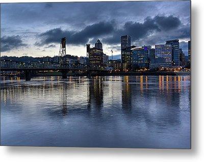 Portland City Skyline With Hawthorne Bridge At Dusk Metal Print by David Gn