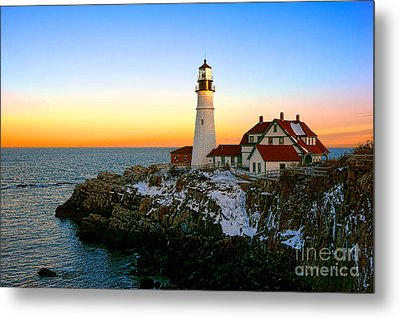 Portland Head Light Winter Sunset Metal Print