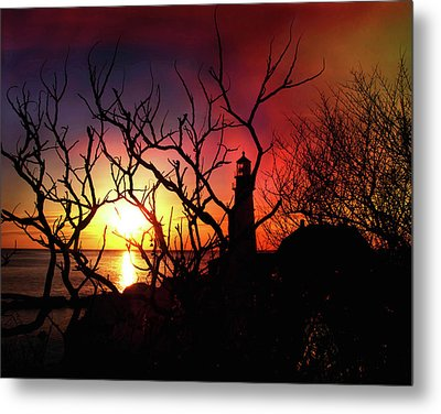 Portland Head Lighthouse Silhouette Metal Print by Joann Vitali