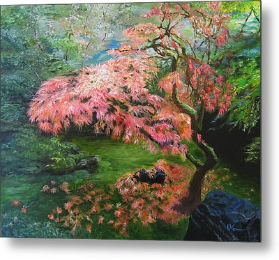 Portland Japanese Maple Metal Print by LaVonne Hand
