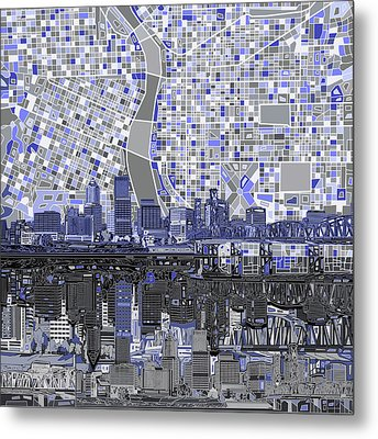 Portland Skyline Abstract Nb Metal Print
